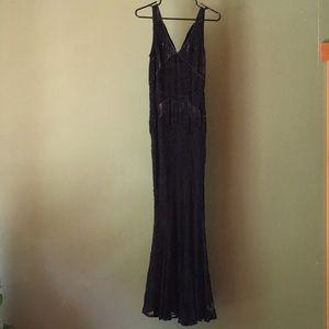 Long, gorgeous black velvet lace dress w/beading